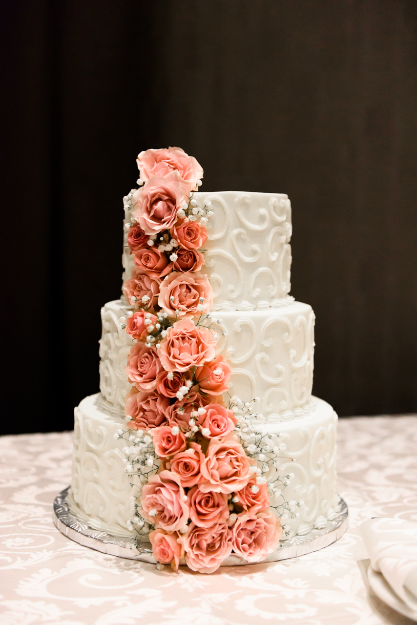 Picture of flower wedding cake taken at Ajax Convention Center