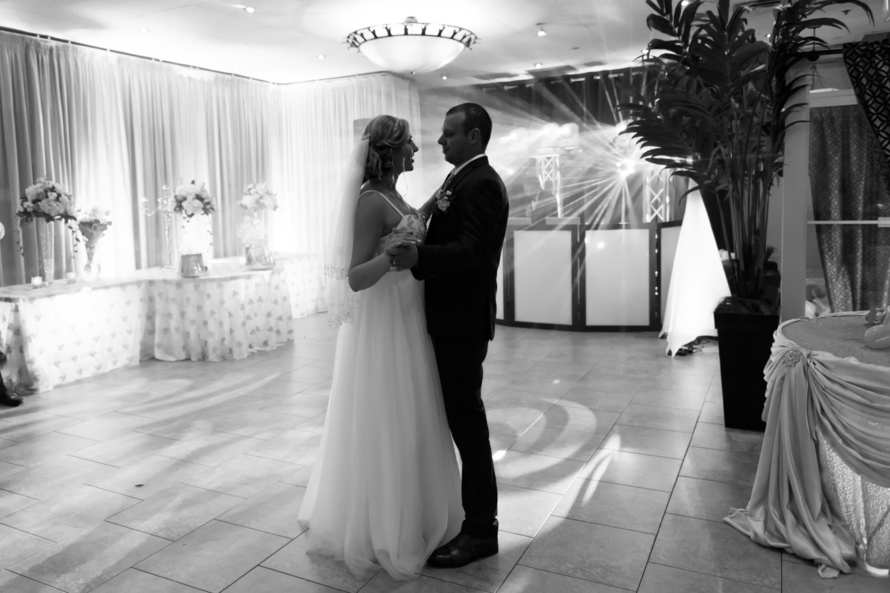romantic first dance black and white picture