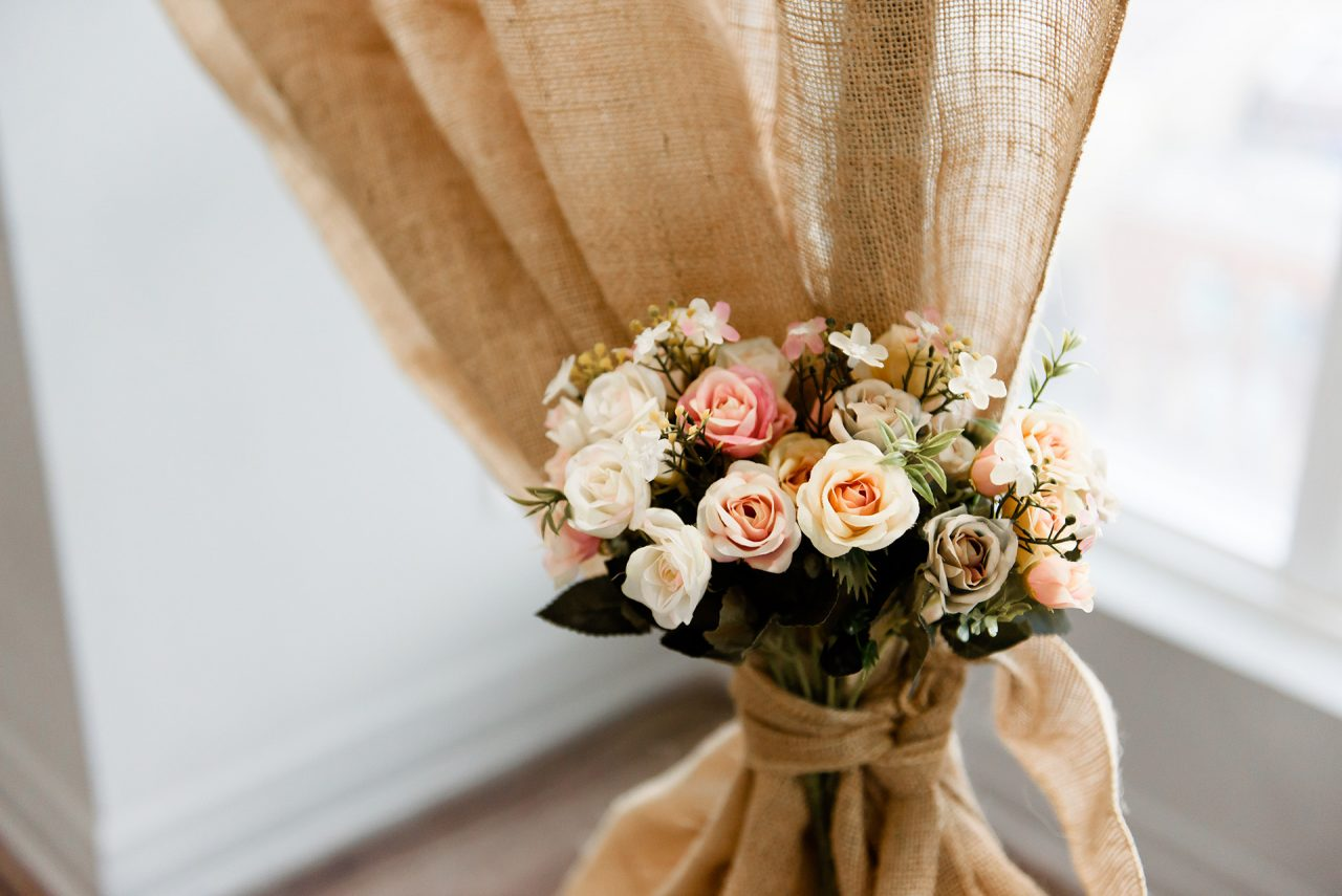 Pictures of flower decorations where the wedding ceremony and the venue were taking place