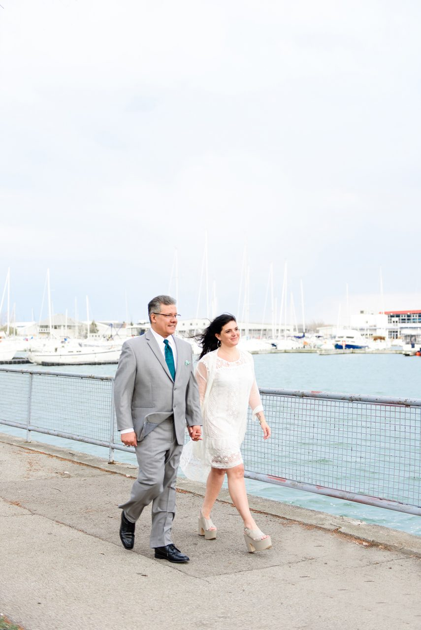 pictures shows the wedding photo shoot which were done near Ontario Lake downtown Toronto