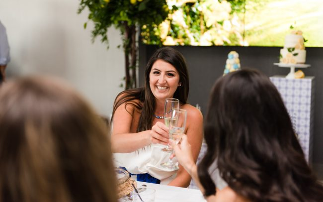 candid pictures of the bride during bridal shower party