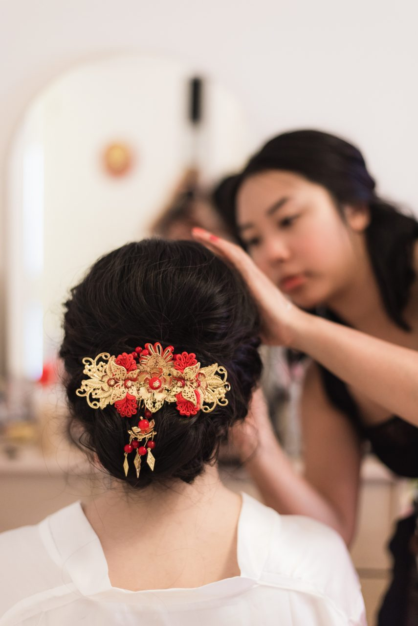 bride wedding preparations at home
