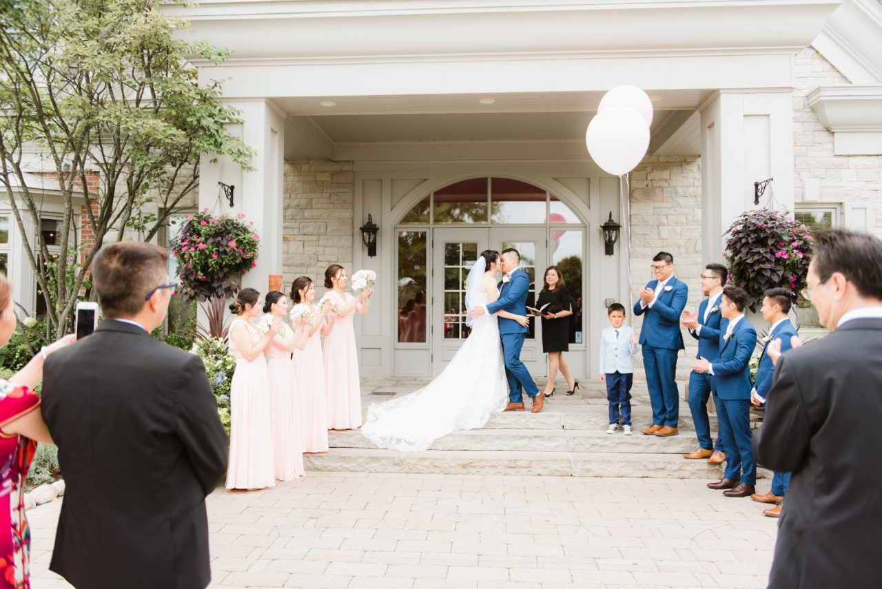 wedding ceremony, first kiss as husband and wife