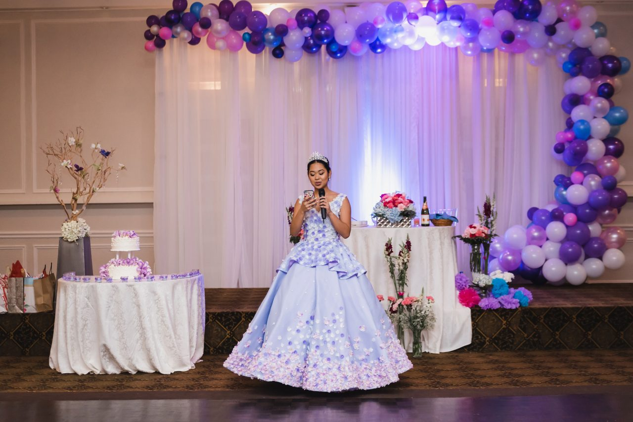 Ayessa giving speech during her debut