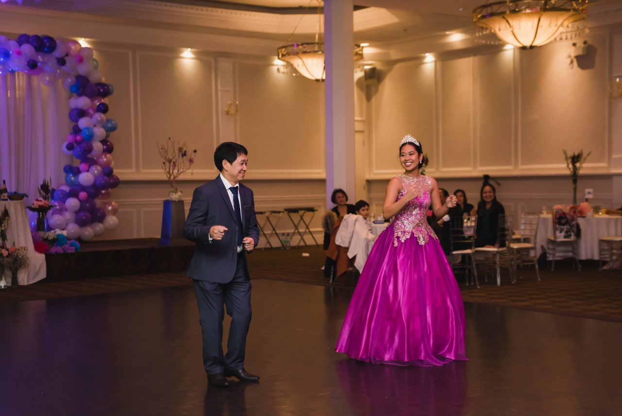 Ayessa dancing with her father during her 18 Birthday party