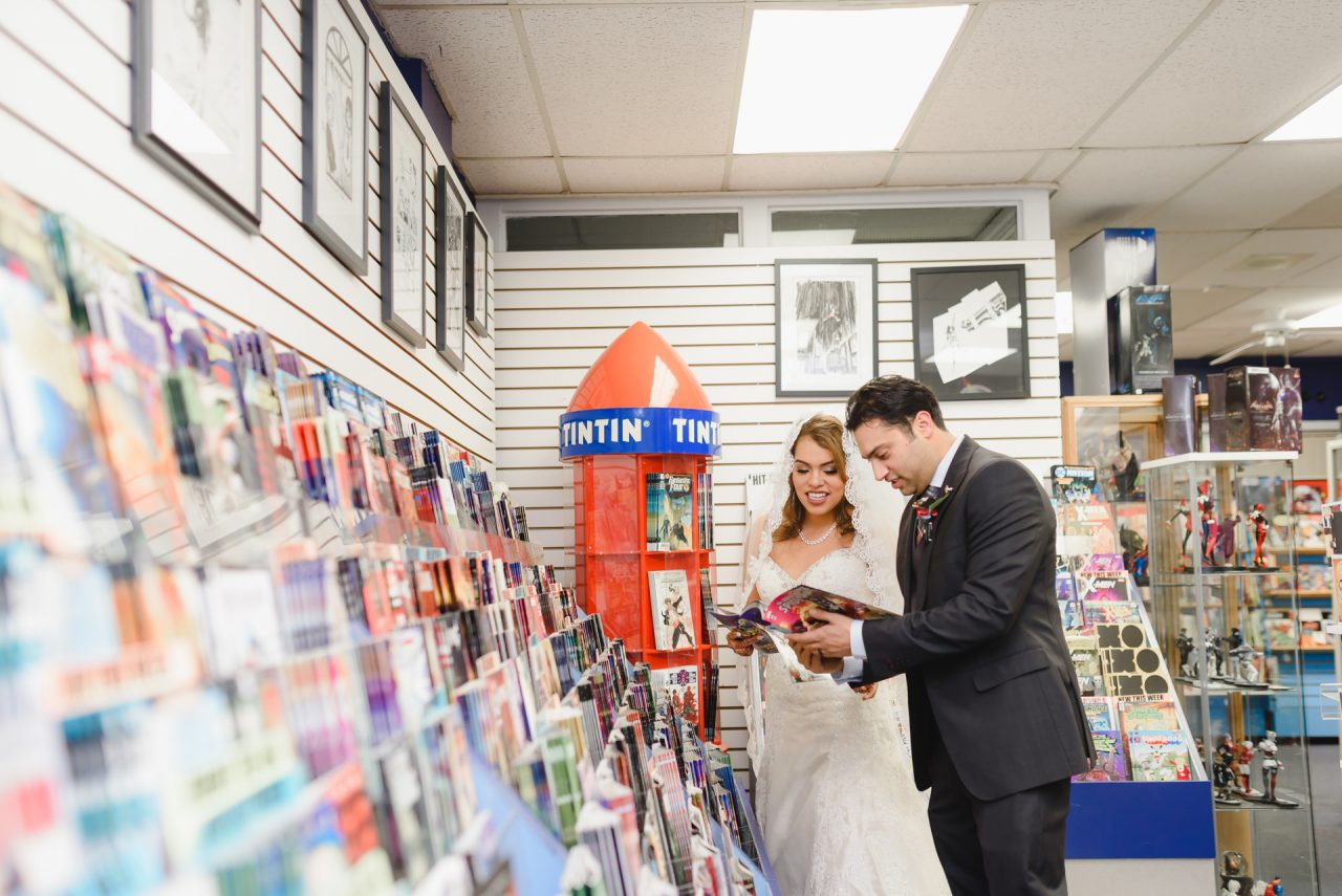 Wedding Photo Shoot taken at Comic Store in Hamilton by Hamilton Wedding Photographer