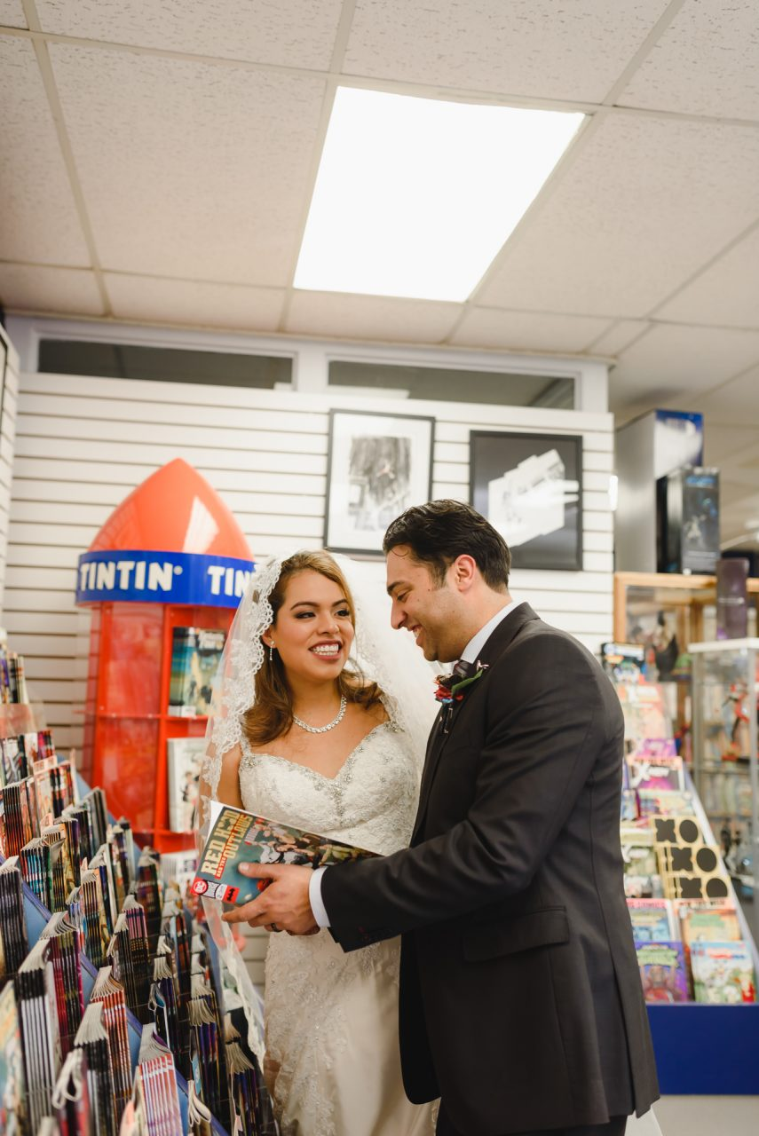 wedding picture taken in Comic Store, Hamilton