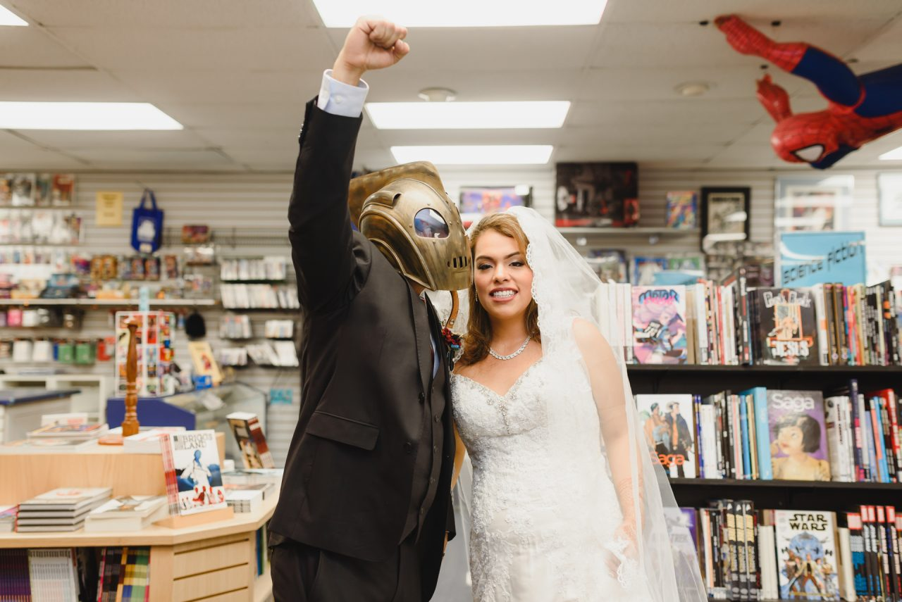 picture of bride and groom in comic store, Hamilton
