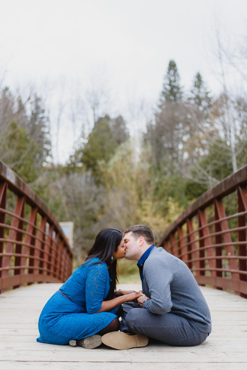 engagement photo shoot taken in Caledon, Ontario at Forks of the Credit Provincial Park