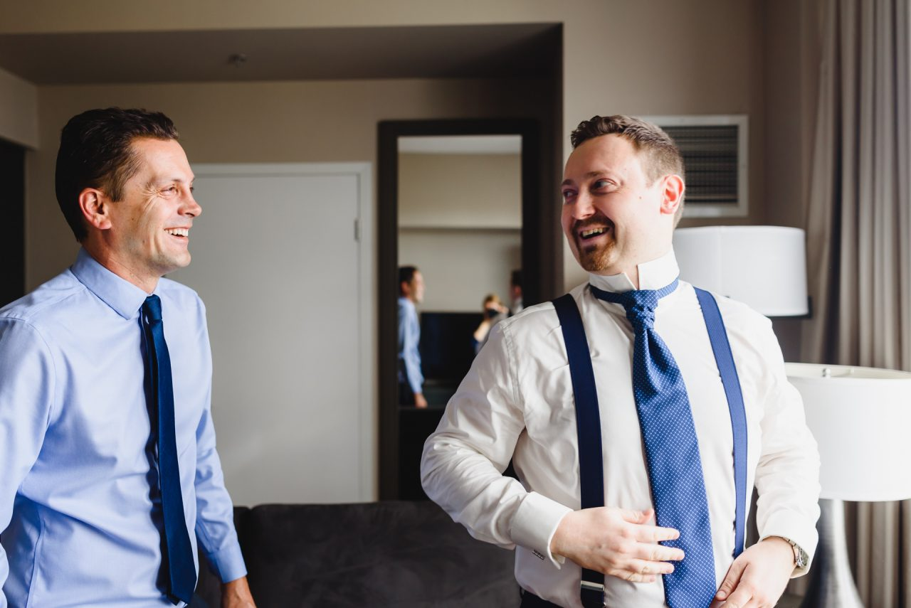 One King West Hotel groom getting ready for his wedding, picture taken downtown Toronto
