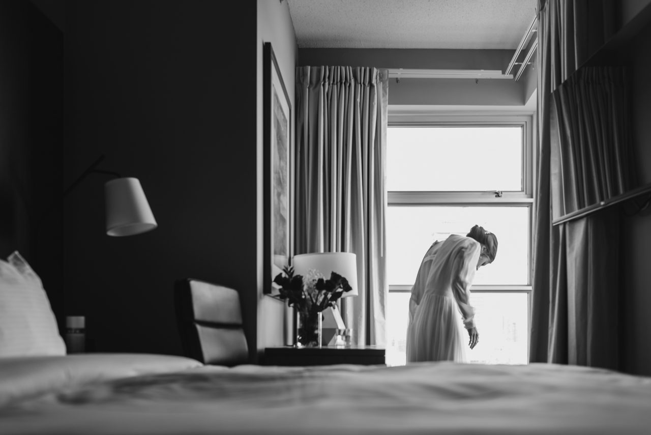 picture of the bride getting ready at at One West Hotel downtown Toronto