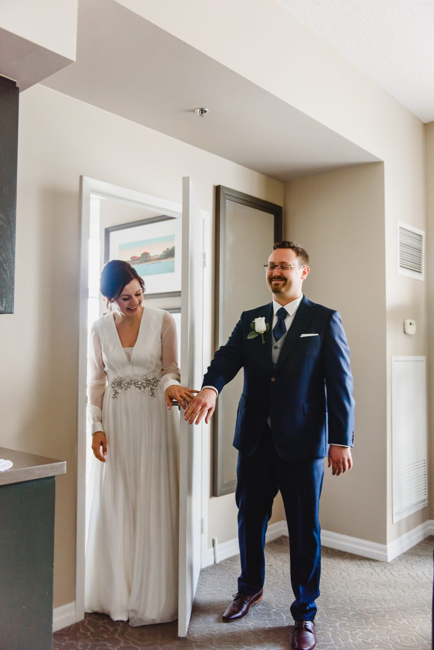 One King West Hotel Toronto bride and groom first look
