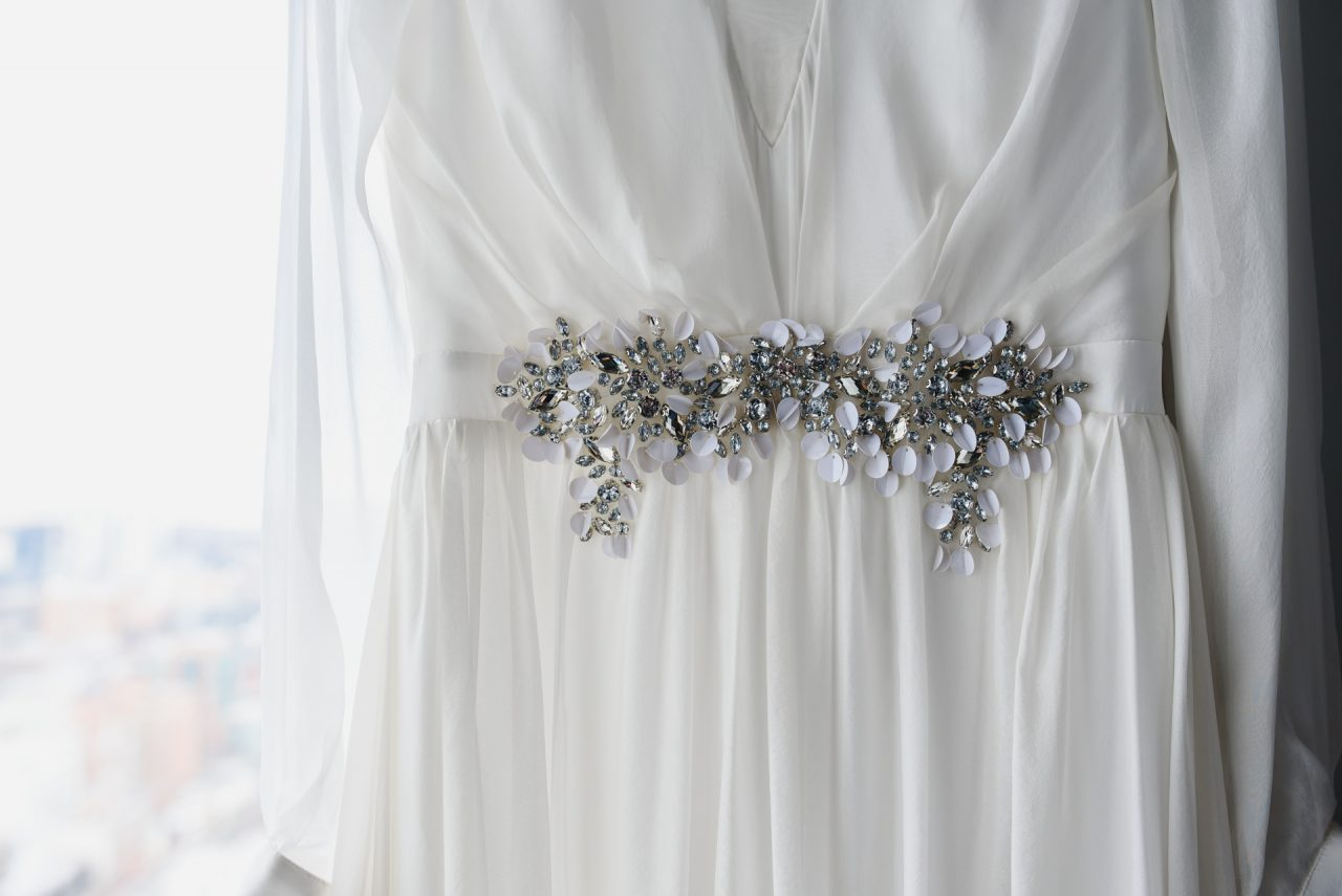 picture of the wedding dress taken in Toronto