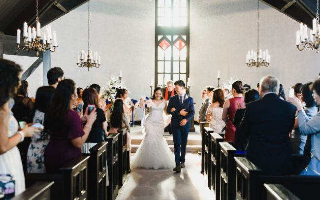 wedding picture taken at historical Toronto Old Mill Chapel
