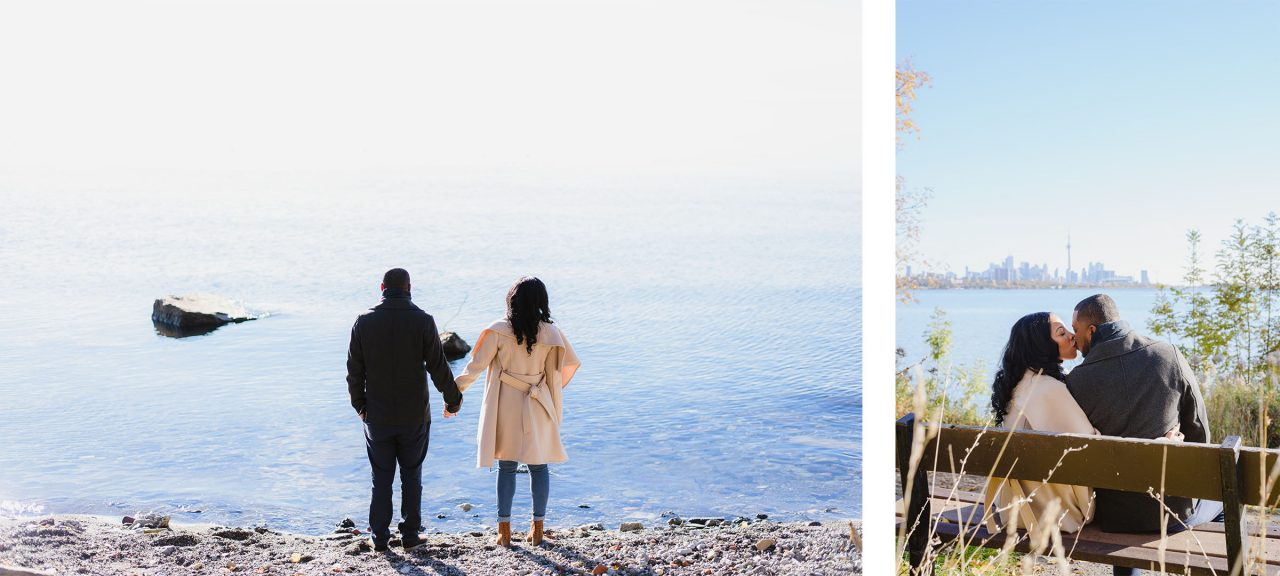 engagement pictures taken at Humber Bay Park in Toronto