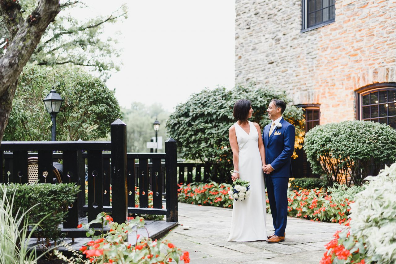 wedding picture taken on the summer time at Old Mill in Toronto