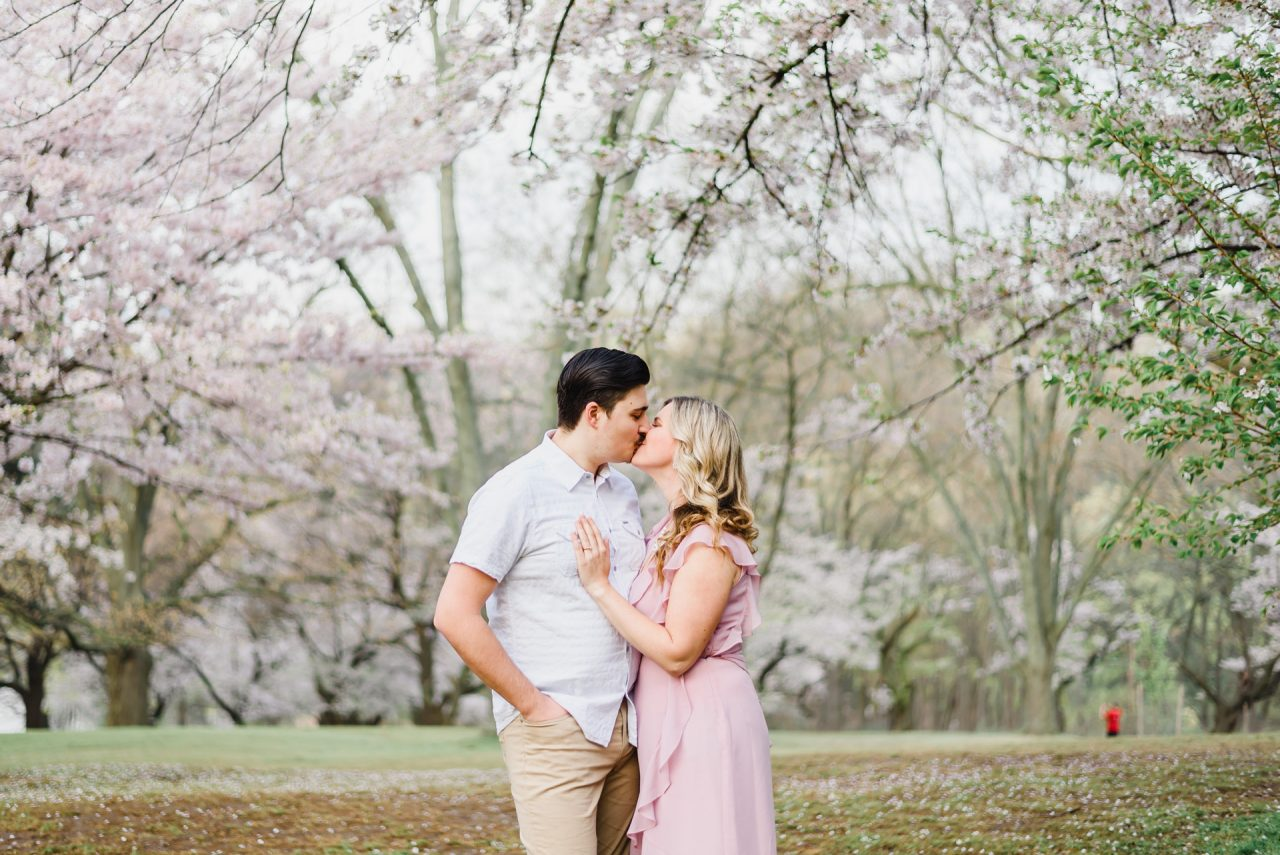 cherry blossom Toronto engagement photo session at High Park