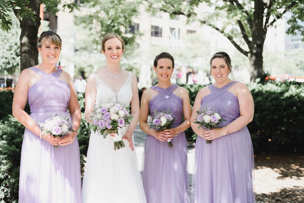 bridal party picture downtown Toronto