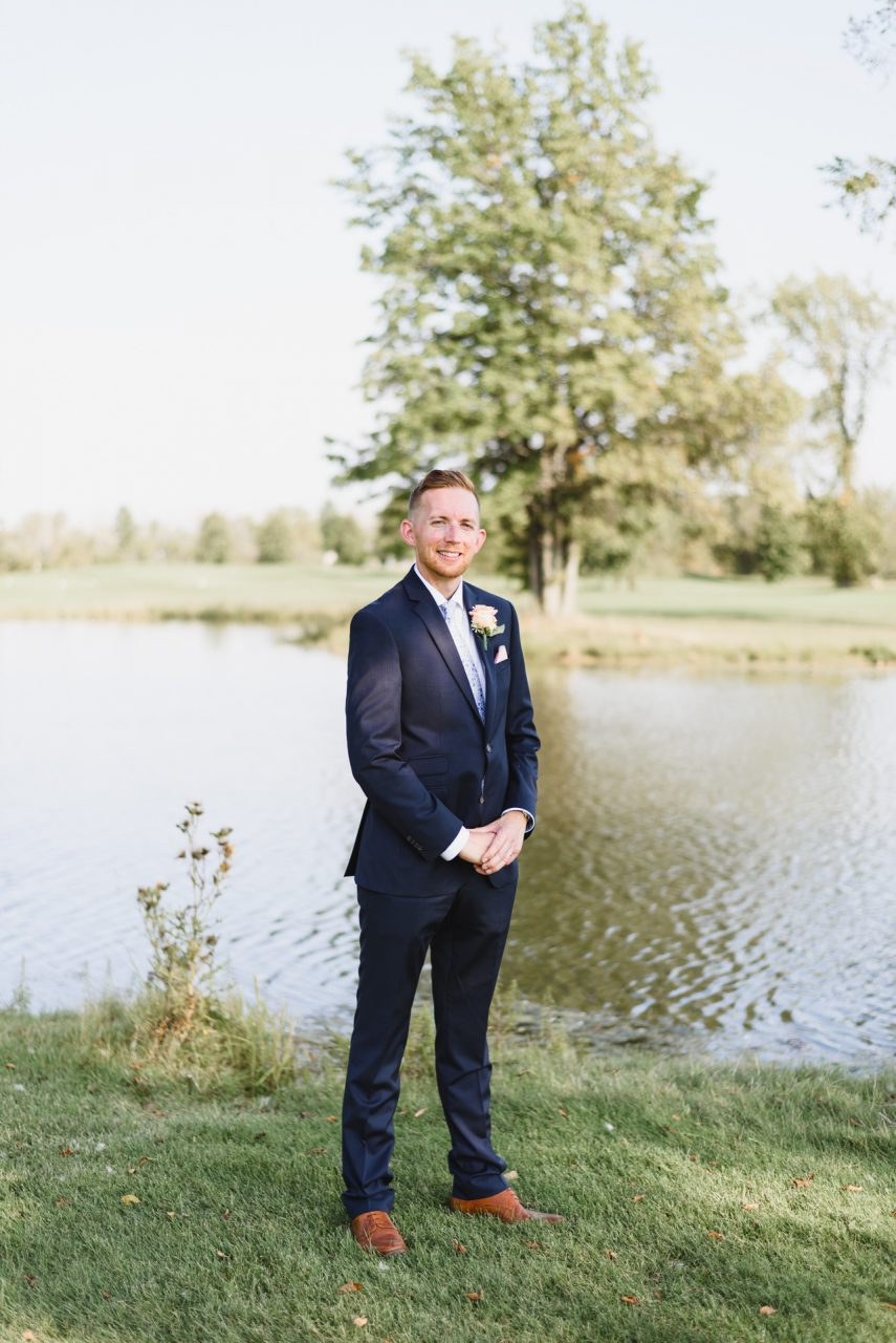 wedding picture of the groom taken at Cardinal Lakes Golf Club, Welland Niagara