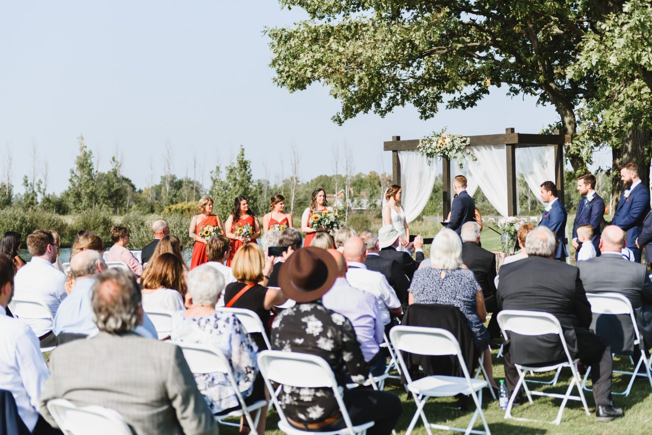 outdoor wedding ceremony at Cardinal Lakes Golf Club, Welland Niagara