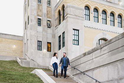 Engagement Photo Shoot at R.C. Harris Water Treatment Plant, Toronto