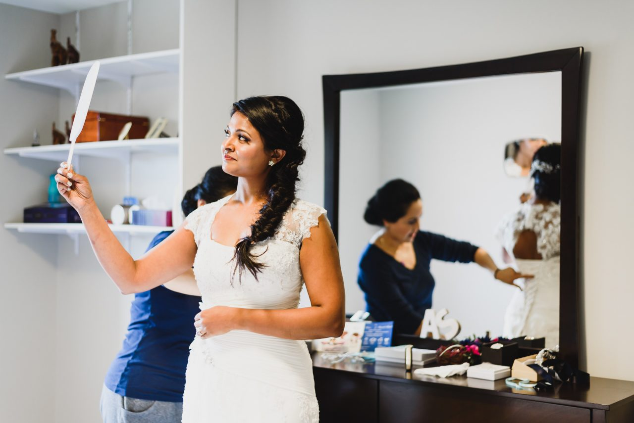 bride getting ready at home in Mississauga