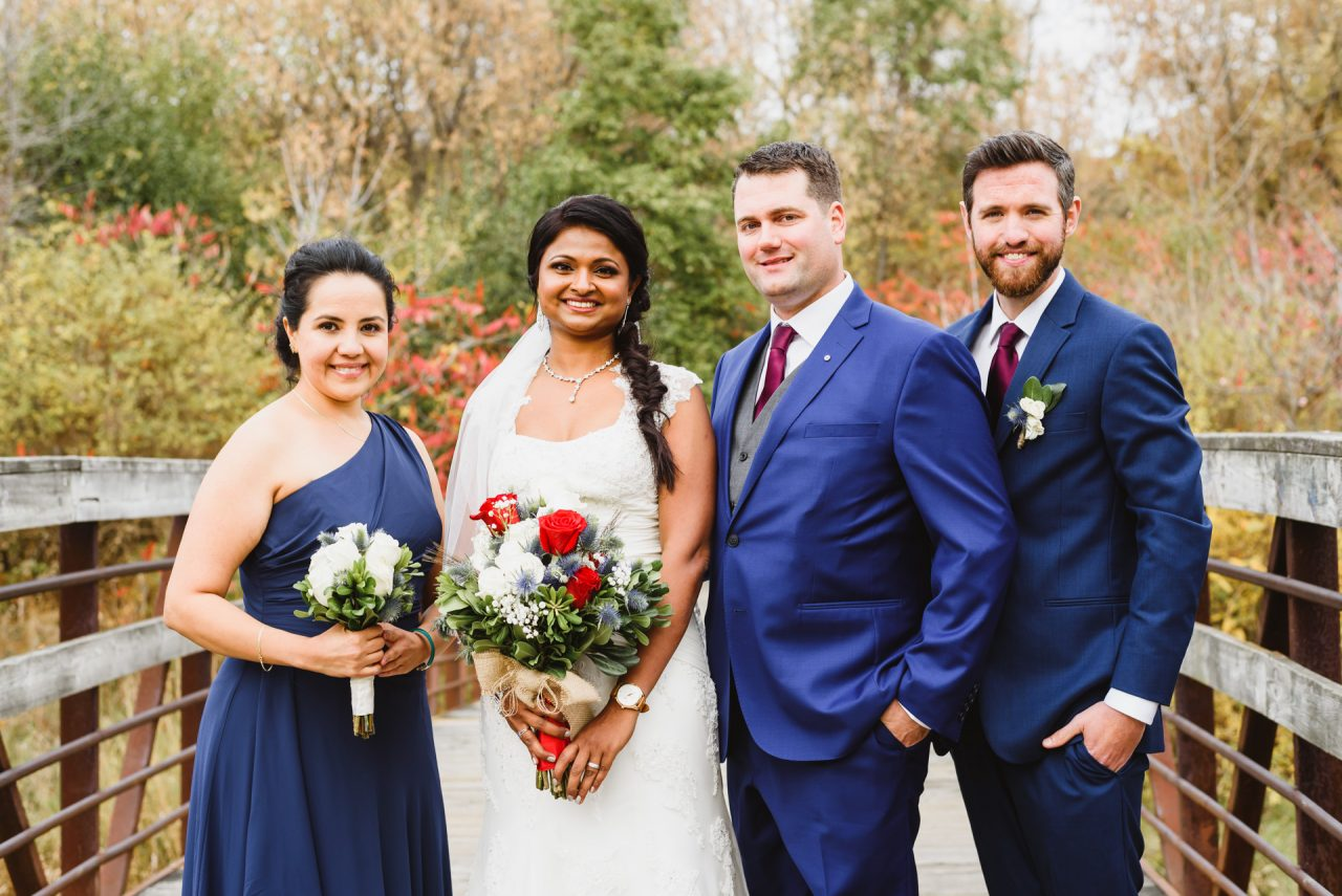 wedding pictures of bridal party at Humberwood Park in Toronto
