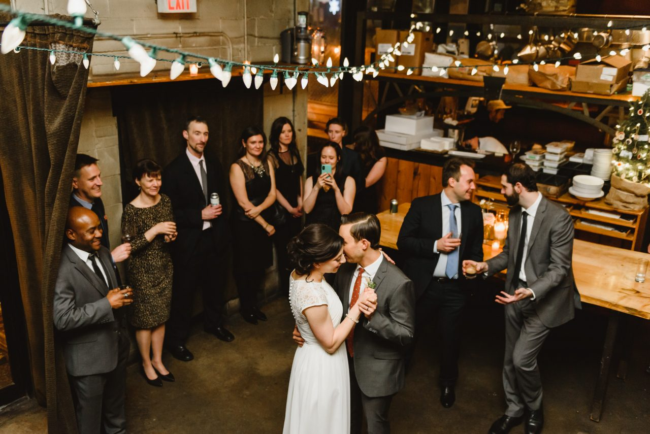 bride and groom first dance at toronto restaurant reception