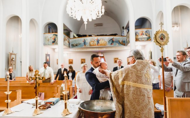 Julian being baptized at Ukrainian Orthodox Church of St.Demetrius