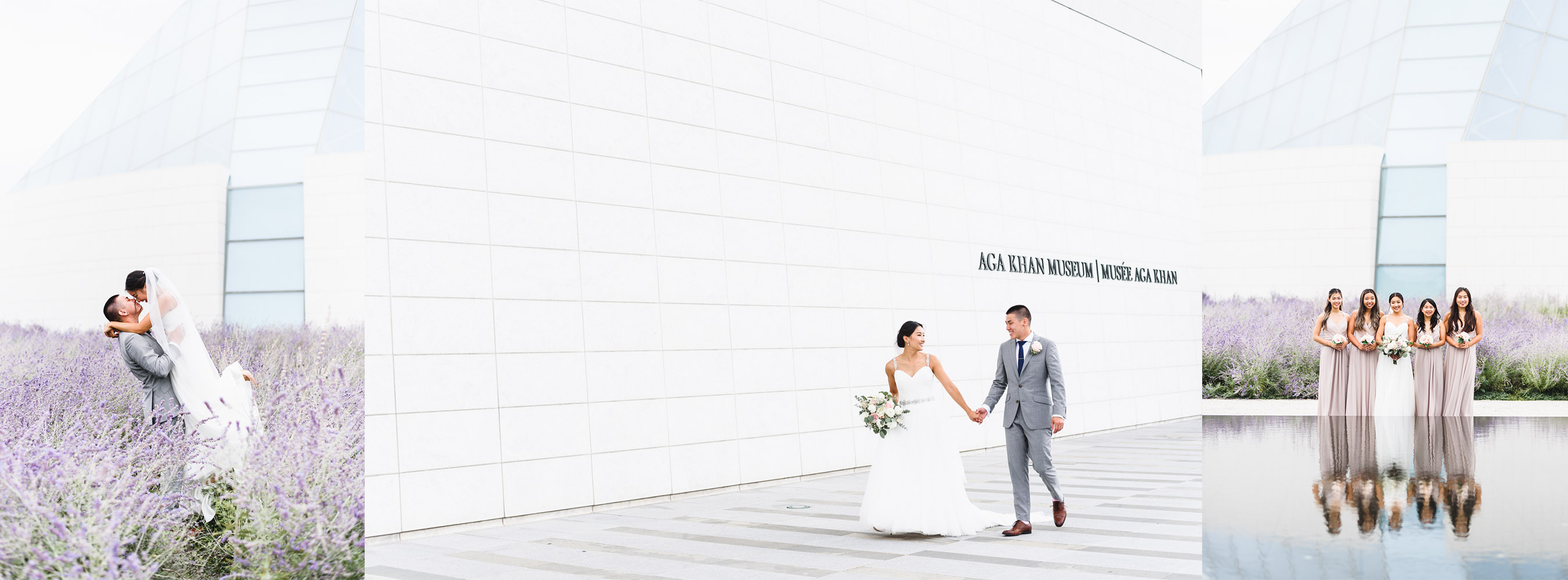 wedding photoshoot at Aga Khan Museum in Toronto with a lavender field